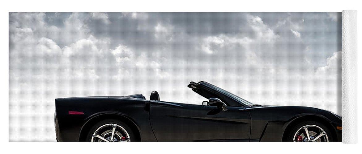 Corvette Yoga Mat featuring the digital art I Take Mine Black by Douglas Pittman