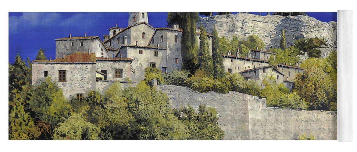 Blue Village Yoga Mat featuring the painting Il Villaggio In Blu by Guido Borelli