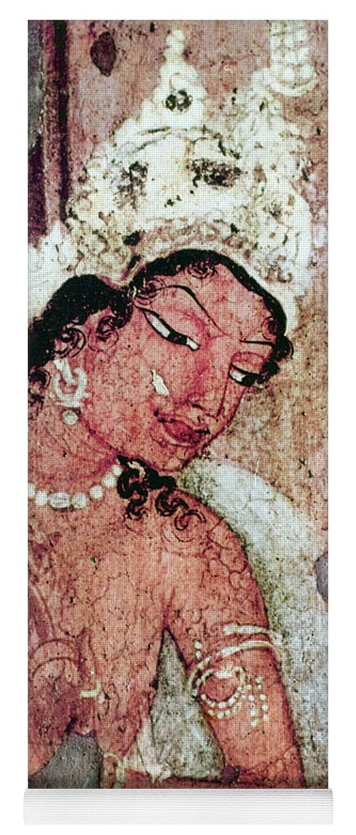 5th Century Yoga Mat featuring the painting India Ajanta Cave by Granger