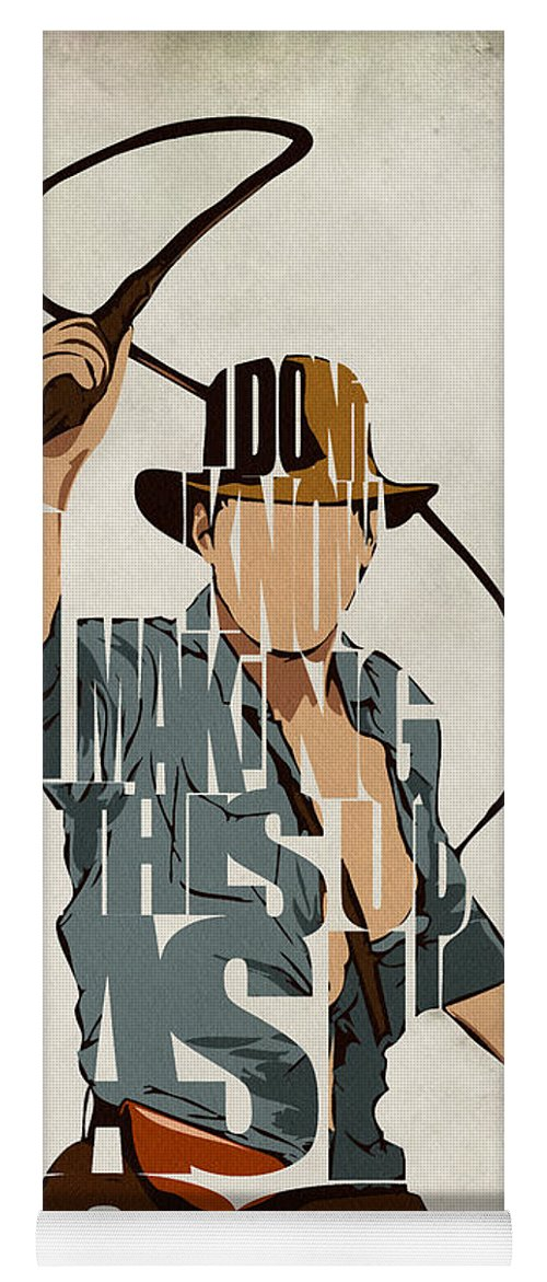 Indiana Jones Yoga Mat featuring the painting Indiana Jones - Harrison Ford by Inspirowl Design