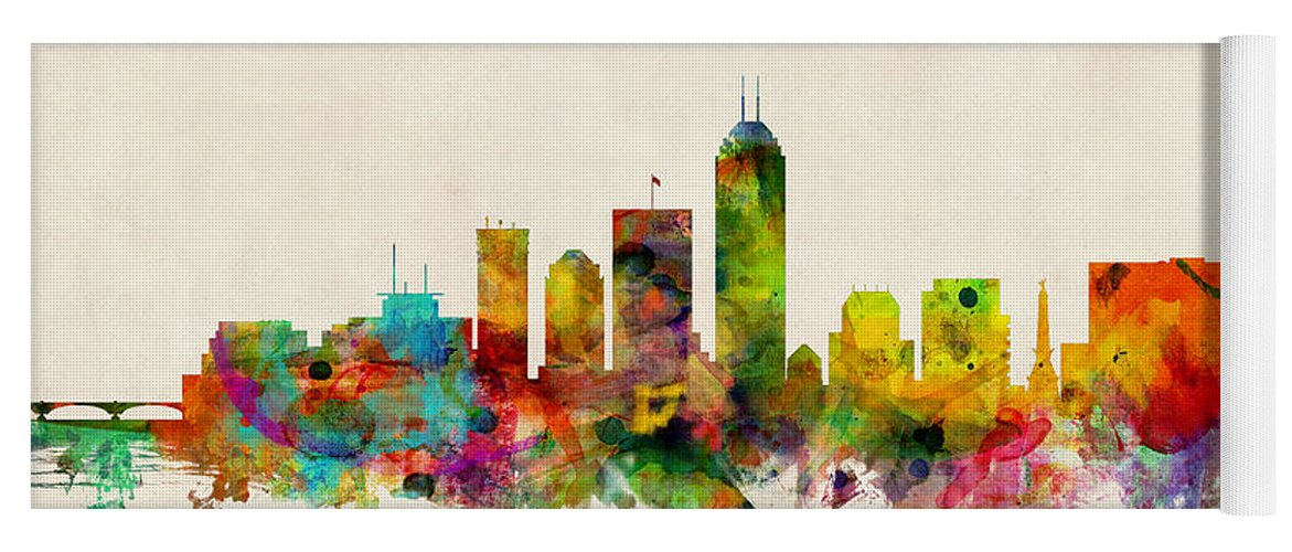 Watercolour Yoga Mat featuring the digital art Indianapolis Indiana Skyline by Michael Tompsett