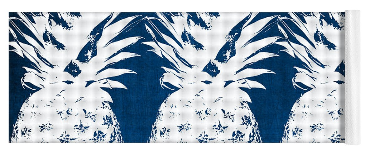 Indigo Yoga Mat featuring the painting Indigo and White Pineapples by Linda Woods