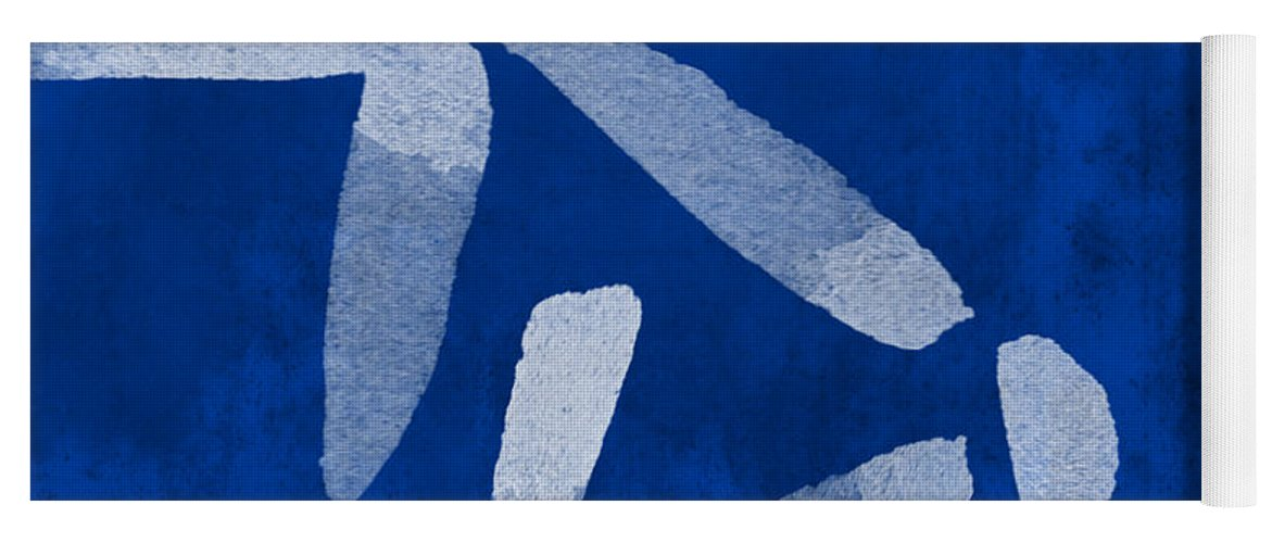 Abstract Yoga Mat featuring the painting Indigo Flowers by Linda Woods
