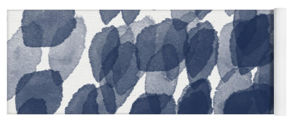 Abstract Painting Yoga Mat featuring the mixed media Indigo Rain- abstract blue and white painting by Linda Woods