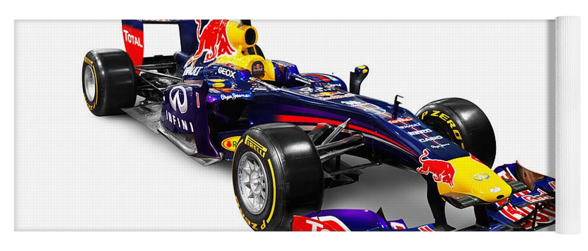 Race Car Yoga Mat featuring the photograph Infinity Red Bull Rb9 Formula 1  Race Car by 2c2ebdd3e4c5c