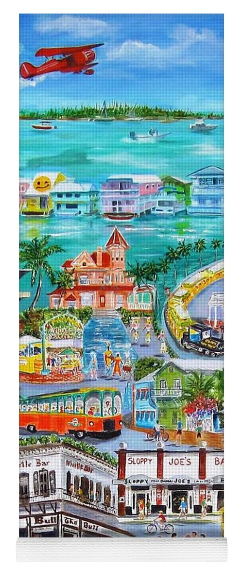 Key West Yoga Mat featuring the painting Island Daze by Linda Cabrera