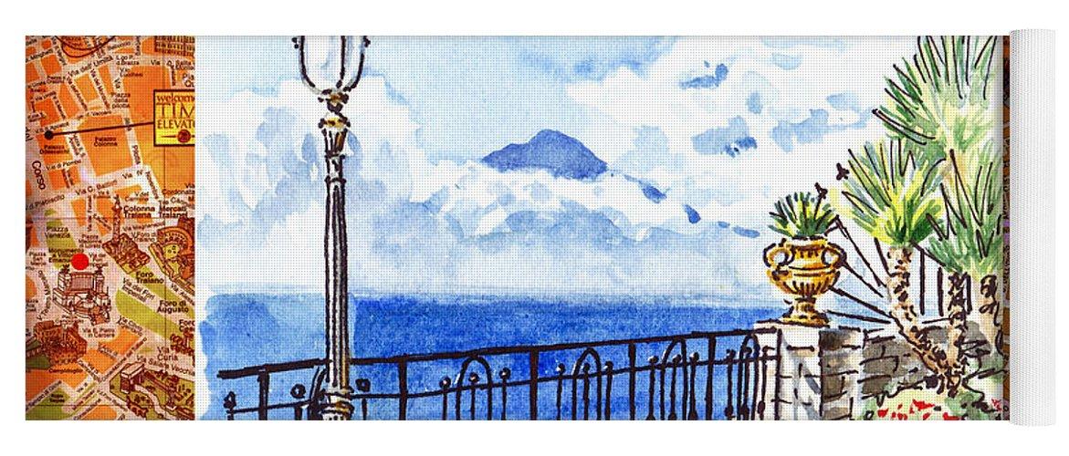 Italy Yoga Mat featuring the painting Italy Sketches Sorrento View On Volcano Vesuvius by Irina Sztukowski