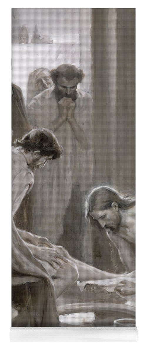 Disciple; Drying; Nordic; Cleaning; Jesus Christ; New Testament; Bible; Biblical Scene Yoga Mat featuring the painting Jesus Washing The Feet Of His Disciples by Albert Gustaf Aristides Edelfelt