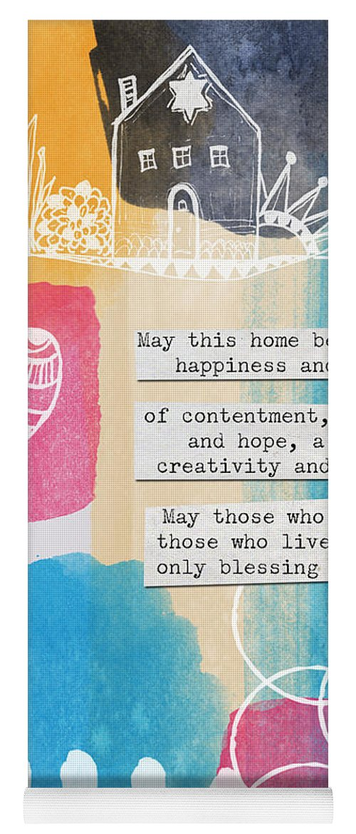 Jewish home blessing greeting cards and prints yoga mat for sale by jewish home blessing yoga mat featuring the painting jewish home blessing greeting m4hsunfo