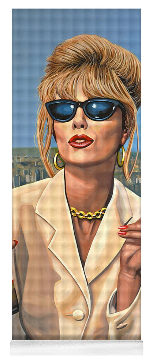 Joanna Lumley Yoga Mat featuring the painting Joanna Lumley as Patsy Stone by Paul Meijering