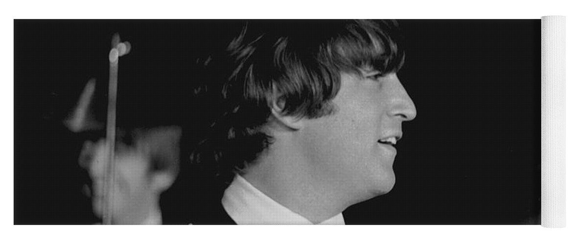 Beatles Yoga Mat featuring the photograph John Lennon, Beatles Concert, 1964 by Larry Mulvehill
