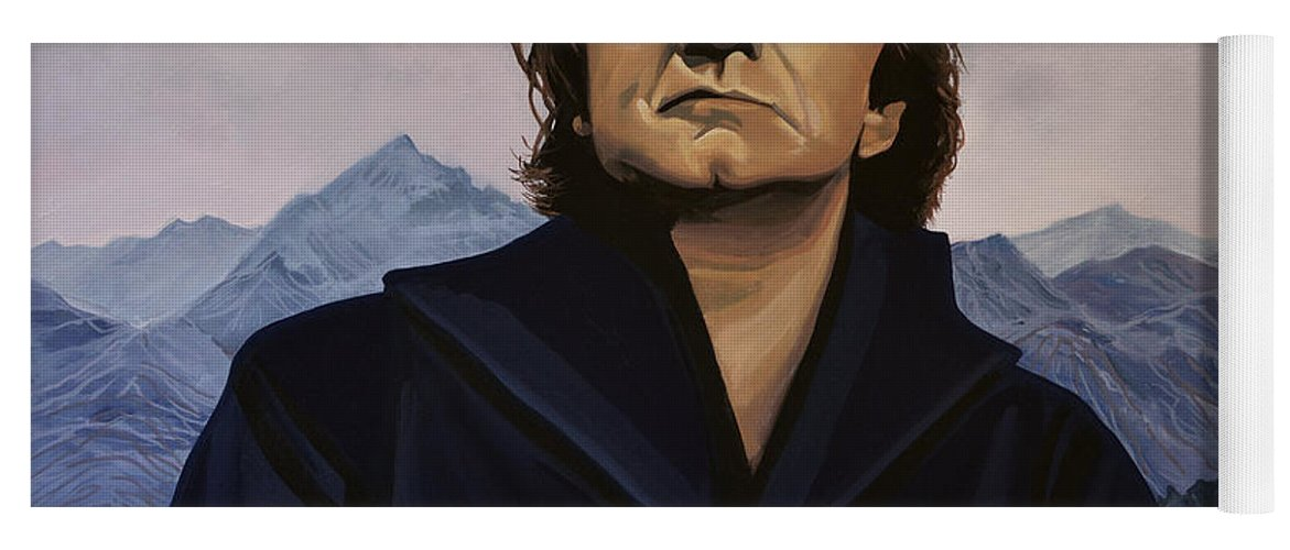 Johnny Cash Yoga Mat featuring the painting Johnny Cash Painting by Paul Meijering