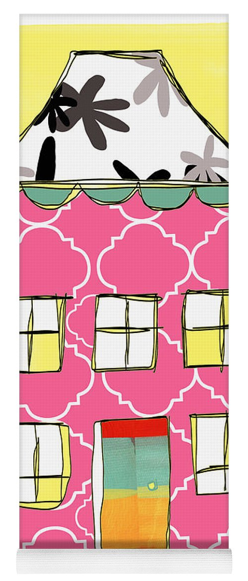 House Yoga Mat featuring the painting Joy House Card by Linda Woods