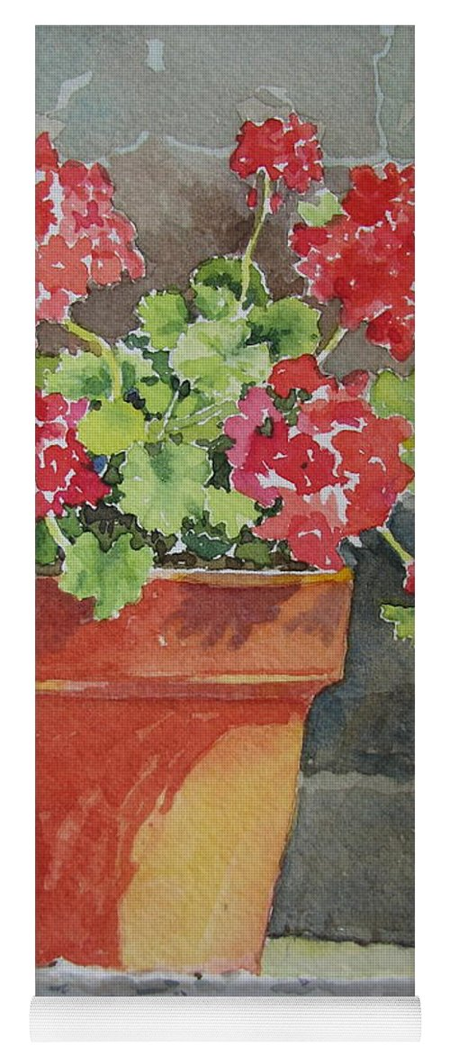 Claypots Yoga Mat featuring the painting Basking in the Sun by Mary Ellen Mueller Legault