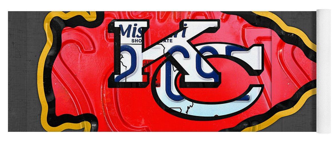 23bfcc97 Kansas City Chiefs Football Team Retro Logo Missouri License Plate Art Yoga  Mat