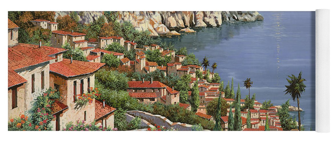 Seascape Yoga Mat featuring the painting La Costa by Guido Borelli