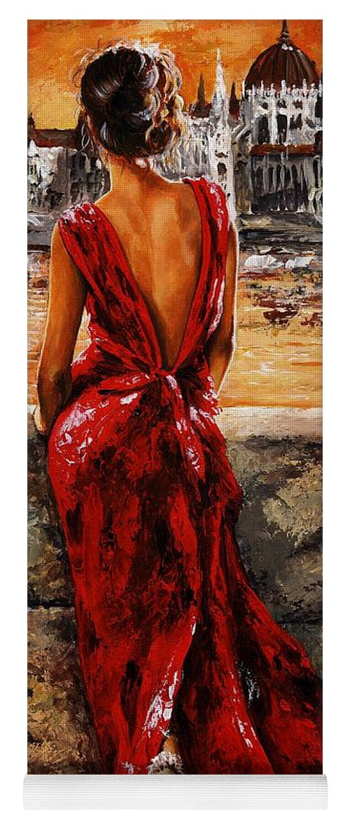 Lady Yoga Mat featuring the painting Lady In Red 34 - I Love Budapest by Emerico Imre Toth