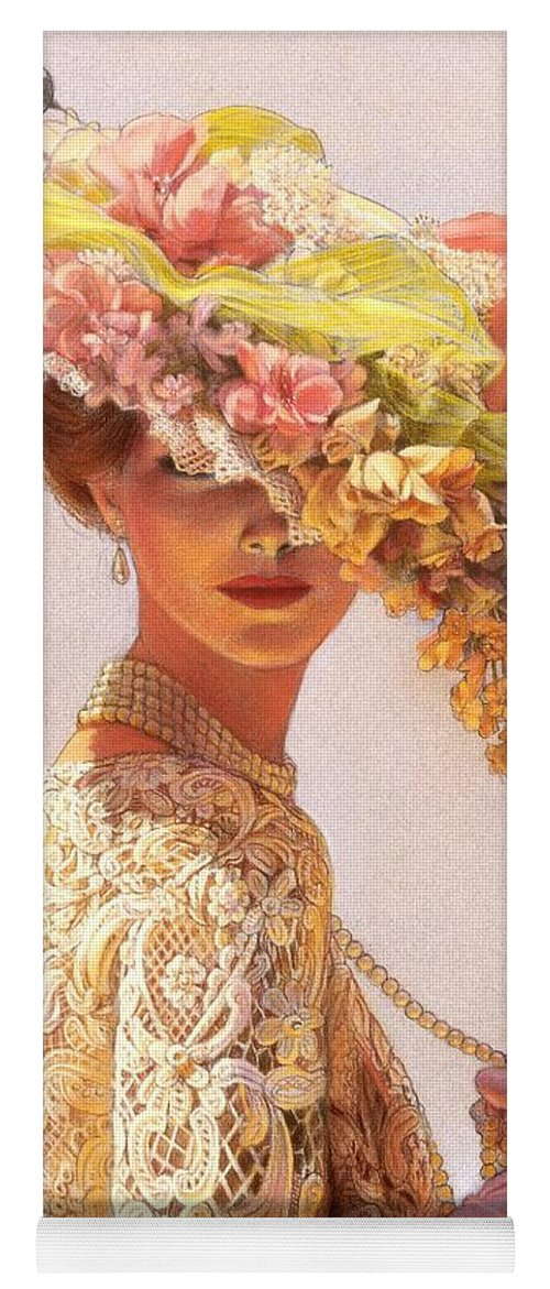 Portrait Yoga Mat featuring the painting Lady Victoria Victorian Elegance by Sue Halstenberg