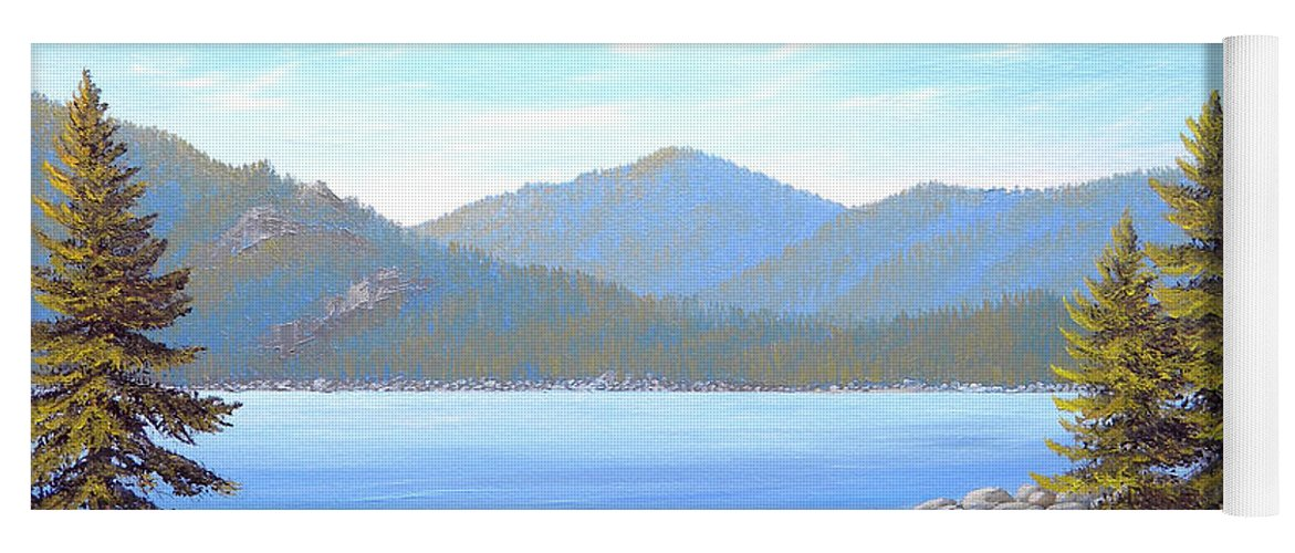 Lake Tahoe Yoga Mat featuring the painting Lake Tahoe Inlet by Frank Wilson