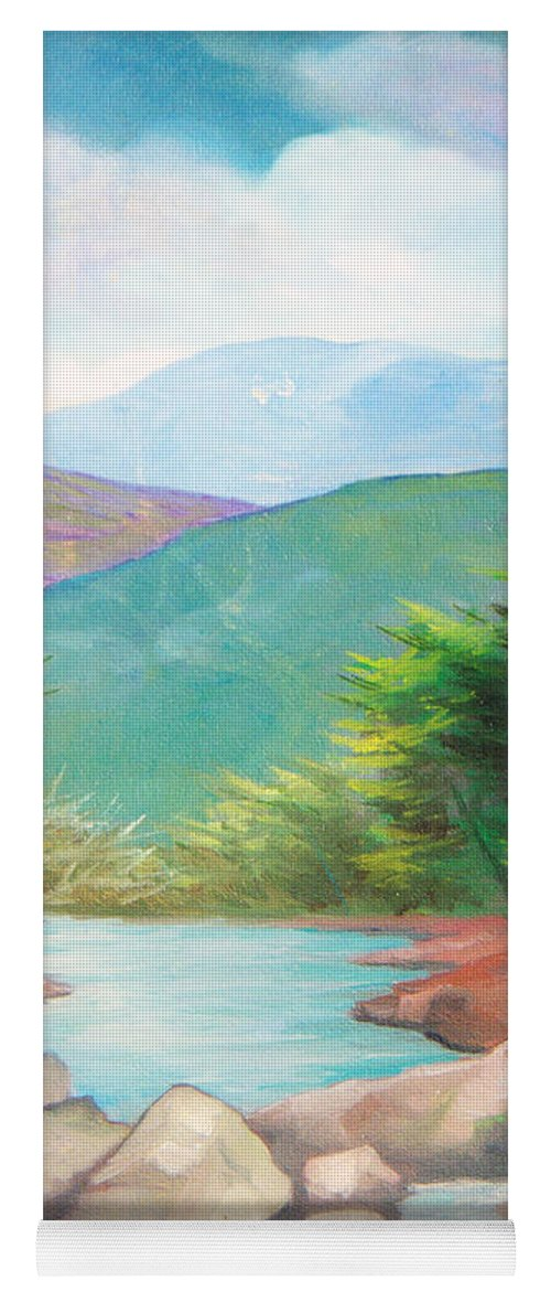Bayou Yoga Mat featuring the painting Landscape with a creek by Sergey Bezhinets