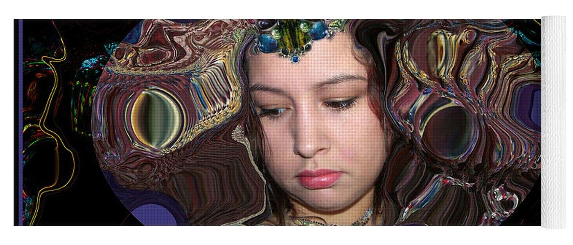 Portrait Yoga Mat featuring the digital art Lapislazuli Beauty by Otto Rapp