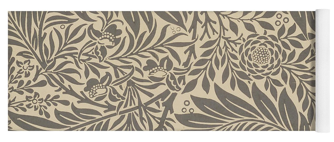Arts And Crafts Yoga Mat featuring the painting Larkspur Wallpaper Design by William Morris