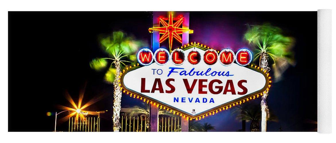 Las Vegas Yoga Mat featuring the photograph Las Vegas Sign by Az Jackson