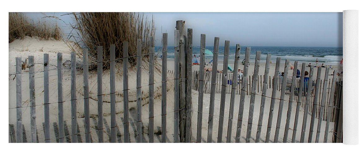 Landscapes Beach Art Sand Art Fence Wood Sky Blue Summertime Ocean Yoga Mat featuring the photograph Last Summer by Linda Sannuti