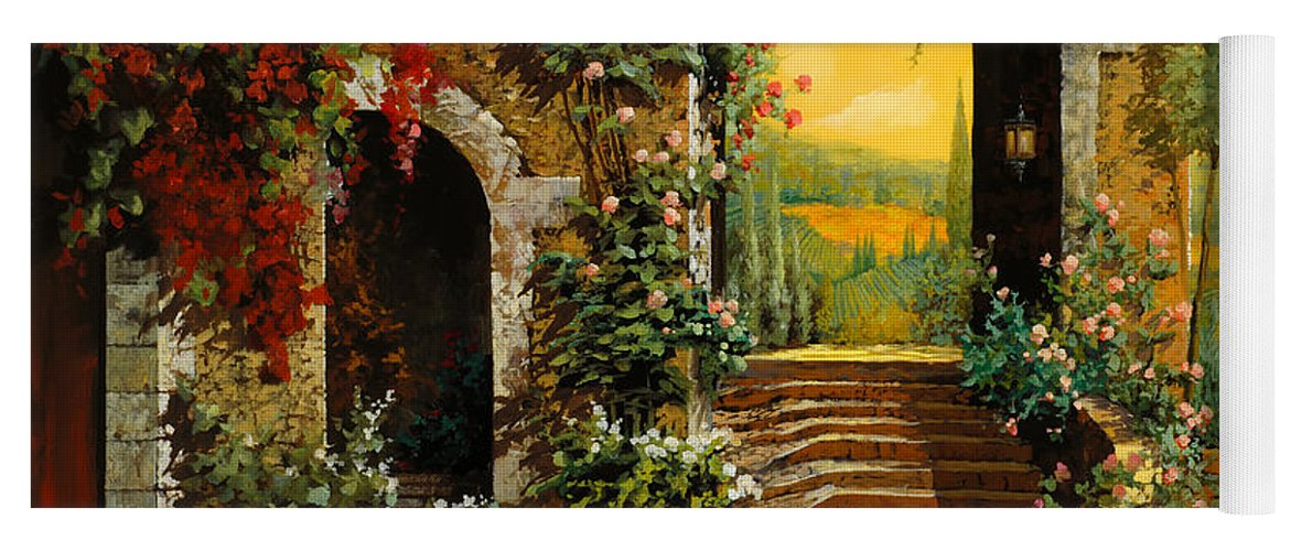 Arch Yoga Mat featuring the painting Le Scale E Il Cielo Giallo by Guido Borelli