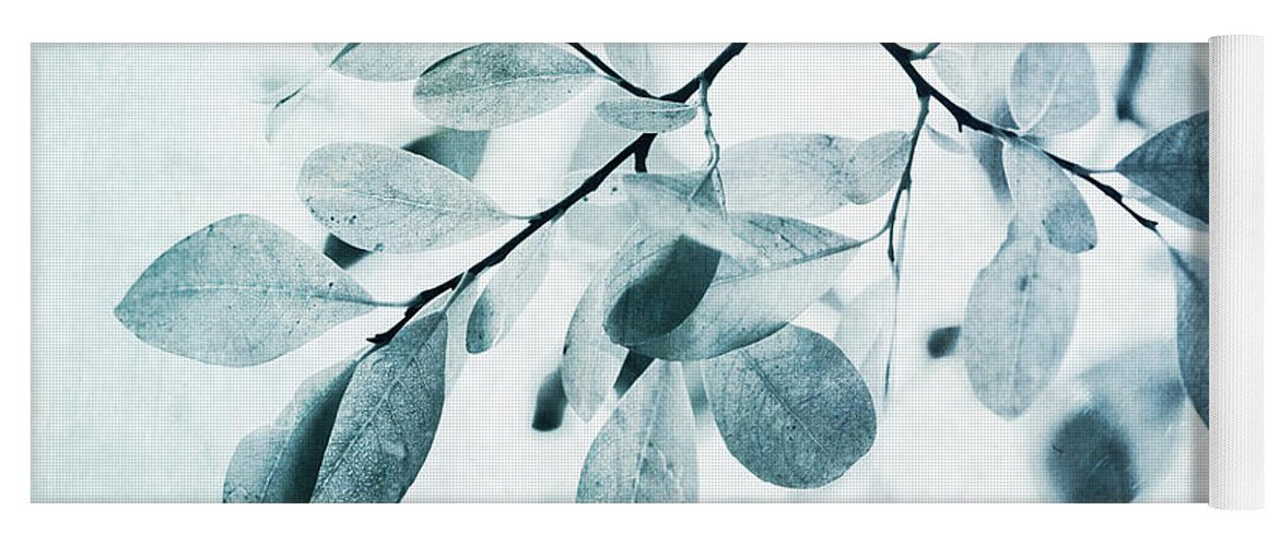 Foliage Yoga Mat featuring the photograph Leaves In Dusty Blue by Priska Wettstein