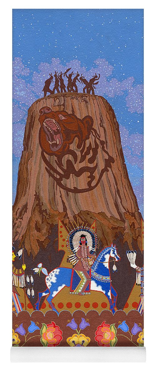 America Yoga Mat featuring the painting Legend Of Bear's Tipi by Chholing Taha