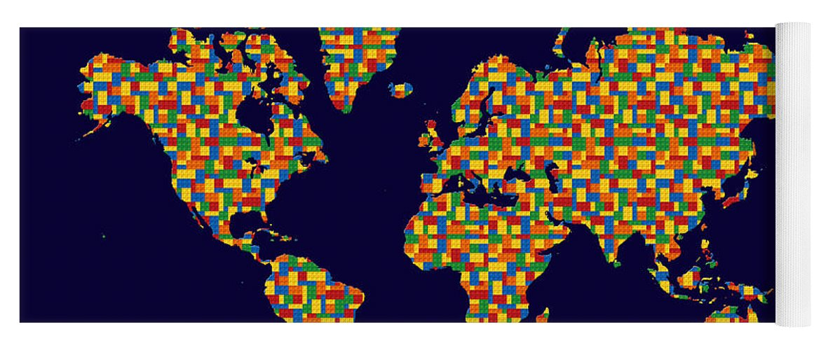 Building blocks world map yoga mat for sale by andrew fare world map yoga mat featuring the photograph building blocks world map by andrew fare gumiabroncs Gallery