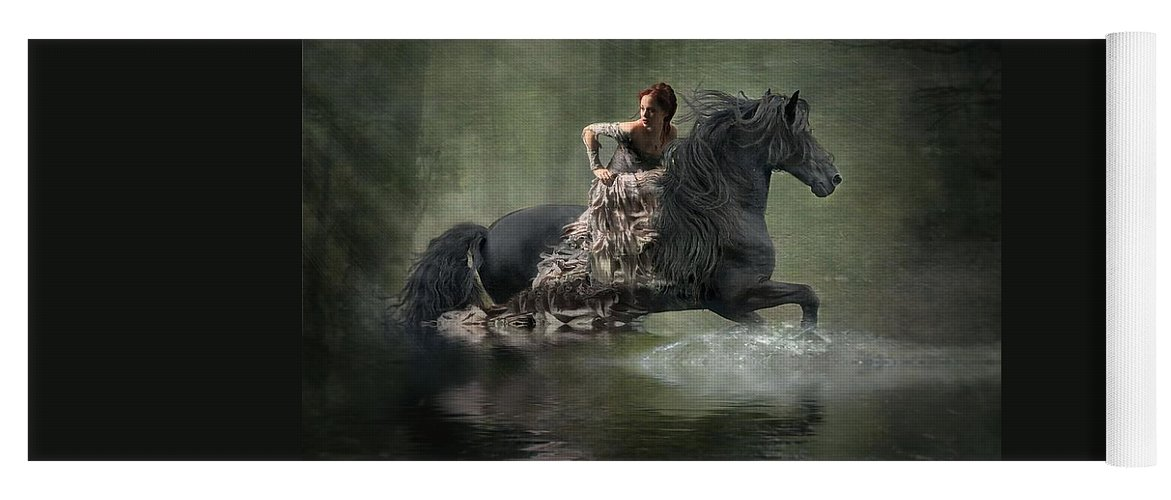 Girl Fleeing On Horse Yoga Mat featuring the photograph Liberated by Fran J Scott