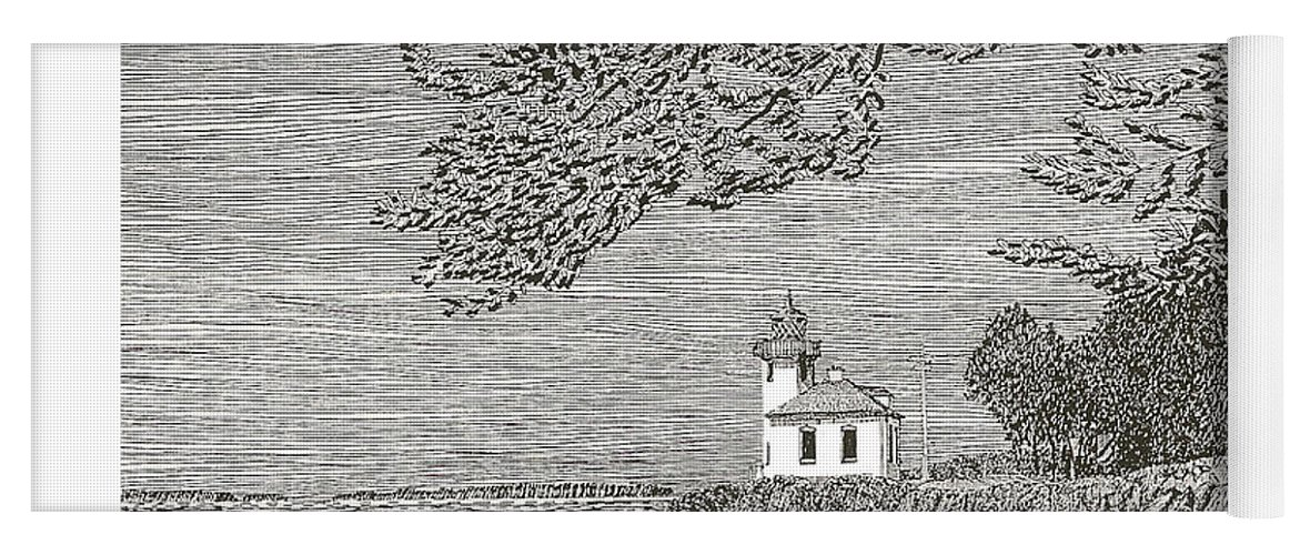 San Juan Islands Lime Point Lighthouse Yoga Mat featuring the drawing Light House On San Juan Island Lime Point Lighthouse by Jack Pumphrey
