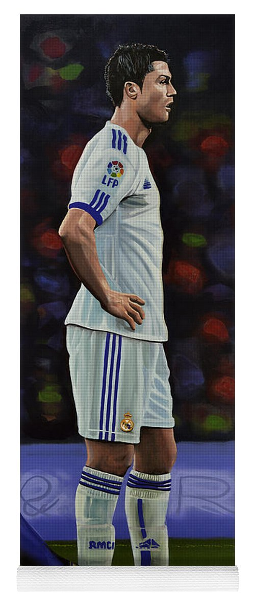 Lionel Messi Yoga Mat featuring the painting Lionel Messi and Cristiano Ronaldo by Paul Meijering