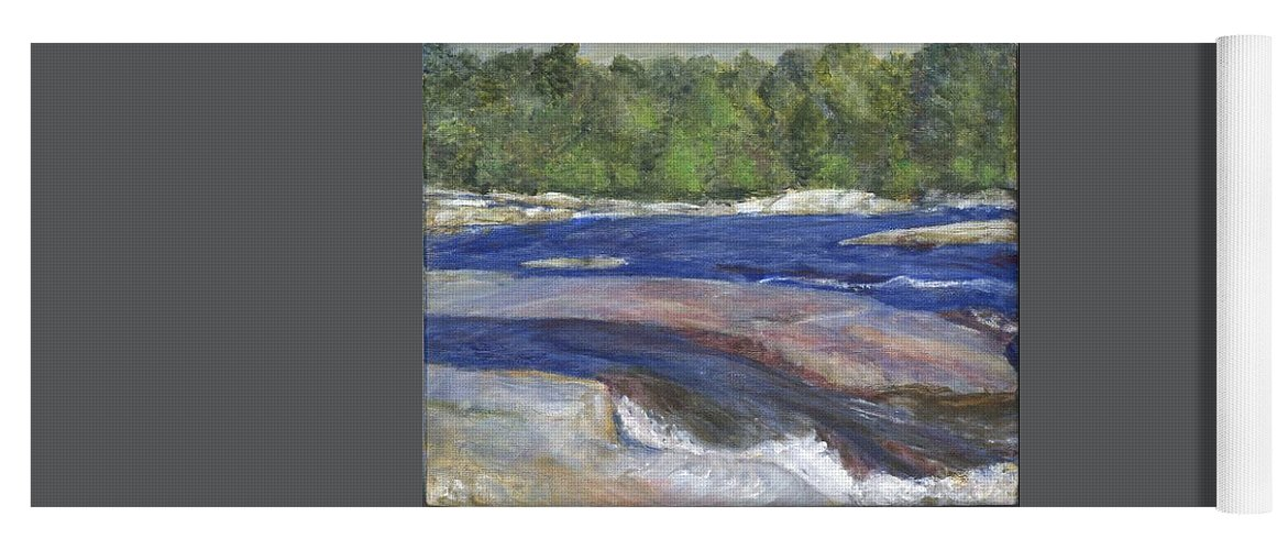 Moose River Yoga Mat featuring the painting Little Rapids by Sheila Mashaw