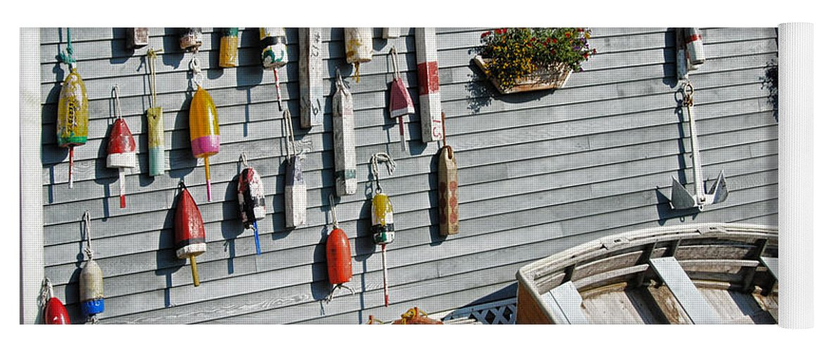 Lobster Pots And Buoys Yoga Mat featuring the photograph Lobster Pots And Buoys by Phyllis Taylor