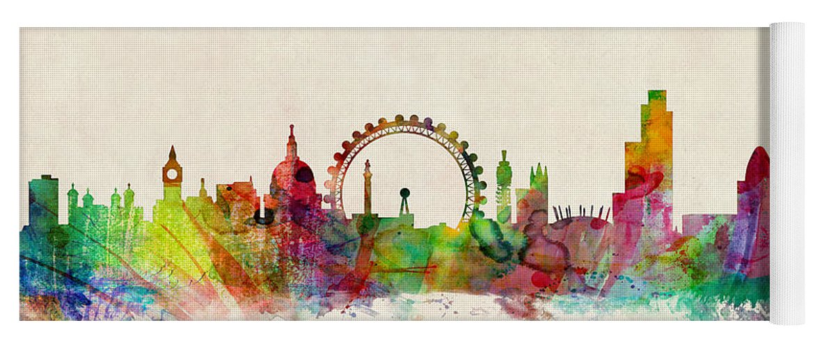 London Yoga Mat featuring the digital art London Skyline Watercolour by Michael Tompsett