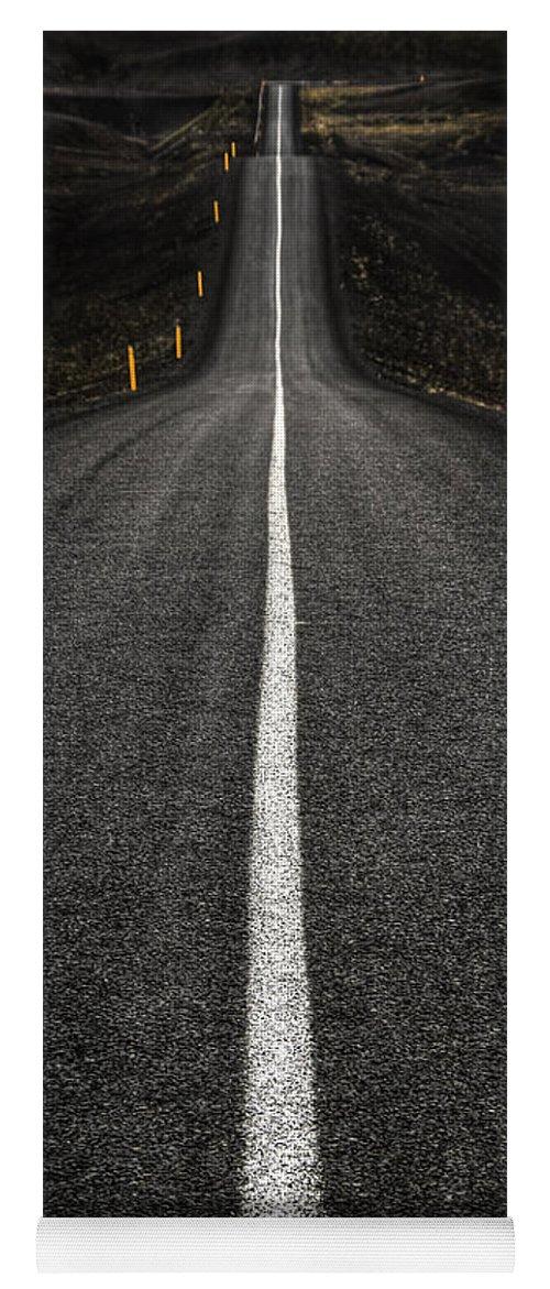 Landmannalaugar Yoga Mat featuring the photograph Long Way To Nowhere by Evelina Kremsdorf