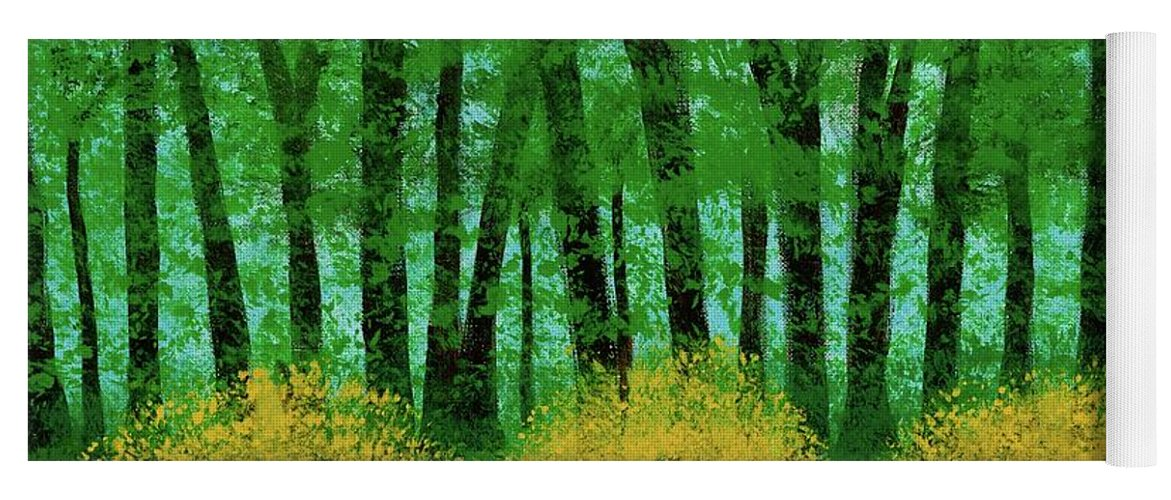 Landscape Yoga Mat featuring the painting Lookin' Out My Back Door by Hillary Binder-Klein