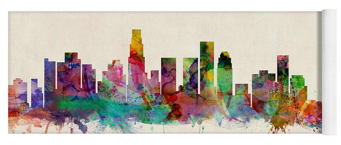 Los Angeles City Skyline Yoga Mat For Sale By Michael Tompsett