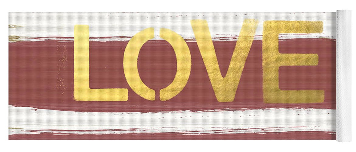 Stripes Yoga Mat featuring the painting Love In Gold And Marsala by Linda Woods
