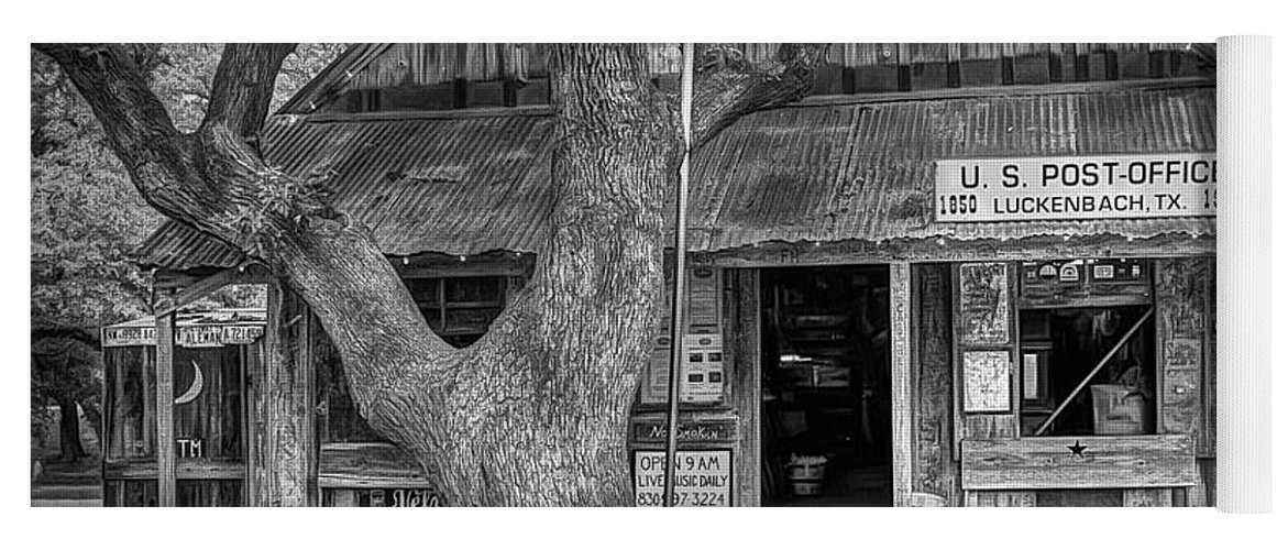 Luckenbach Yoga Mat featuring the photograph Luckenbach 2 Black And White by Scott Norris
