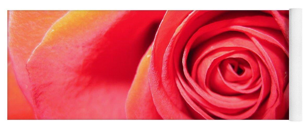 Floral Yoga Mat featuring the photograph Luminous Red Rose 1 by Tara Shalton