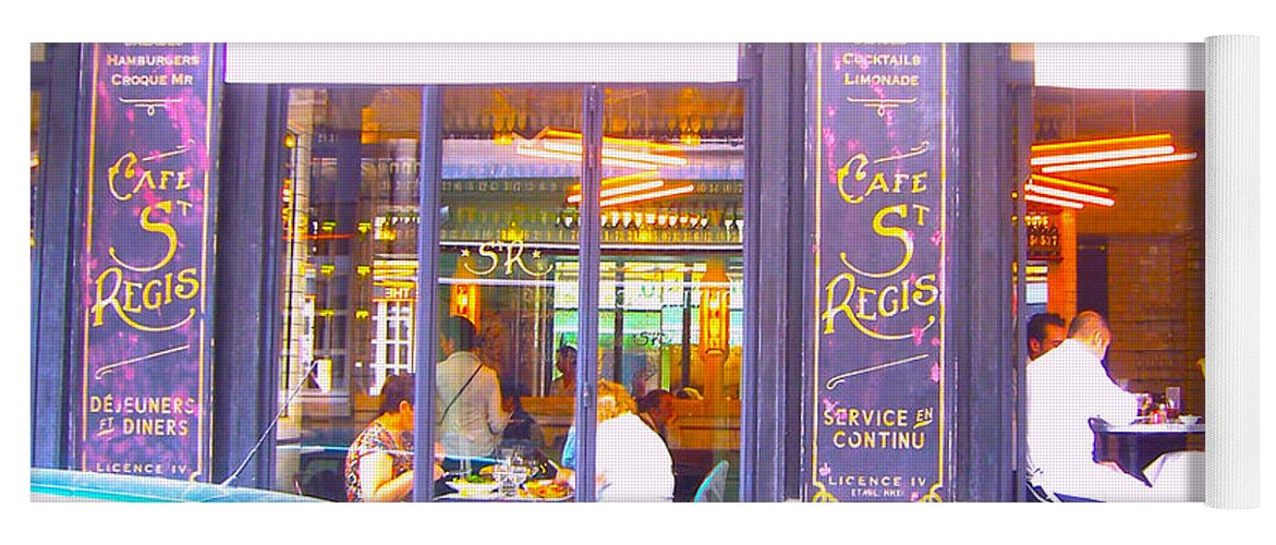 Cafe St Regis Yoga Mat featuring the photograph Lunch Time At The Cafe St Regis In Paris by Jan Matson