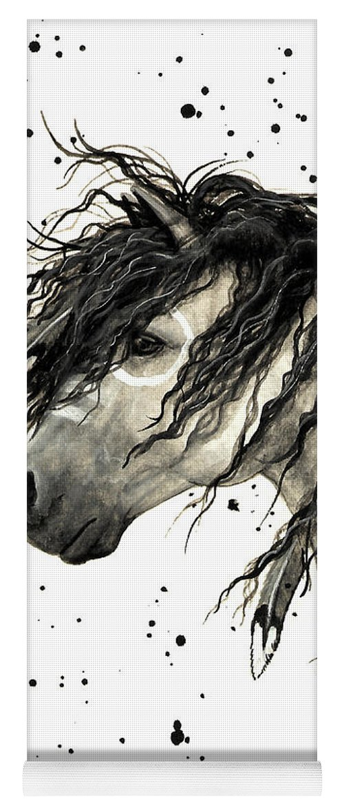 Mustang Horse Art Yoga Mat featuring the painting Majestic Grey Spirit Horse #44 by AmyLyn Bihrle