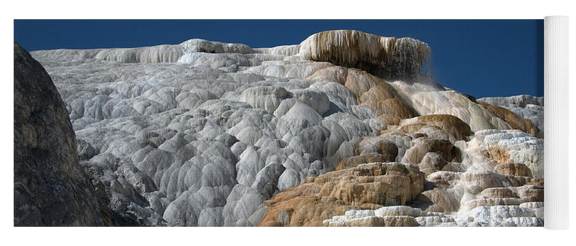 Blue Yoga Mat featuring the photograph Mammoth Hot Springs 2 by Frank Madia