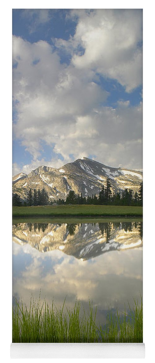 00175345 Yoga Mat featuring the photograph Mammoth Peak And Clouds Reflected by Tim Fitzharris