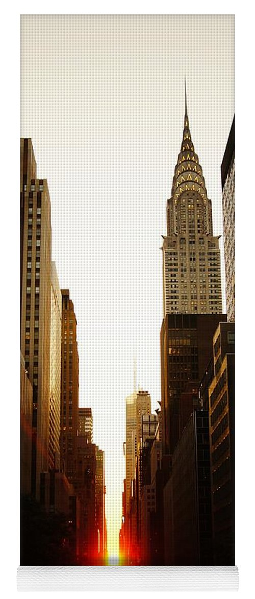 New York City Yoga Mat featuring the photograph Manhattanhenge Sunset And The Chrysler Building by Vivienne Gucwa