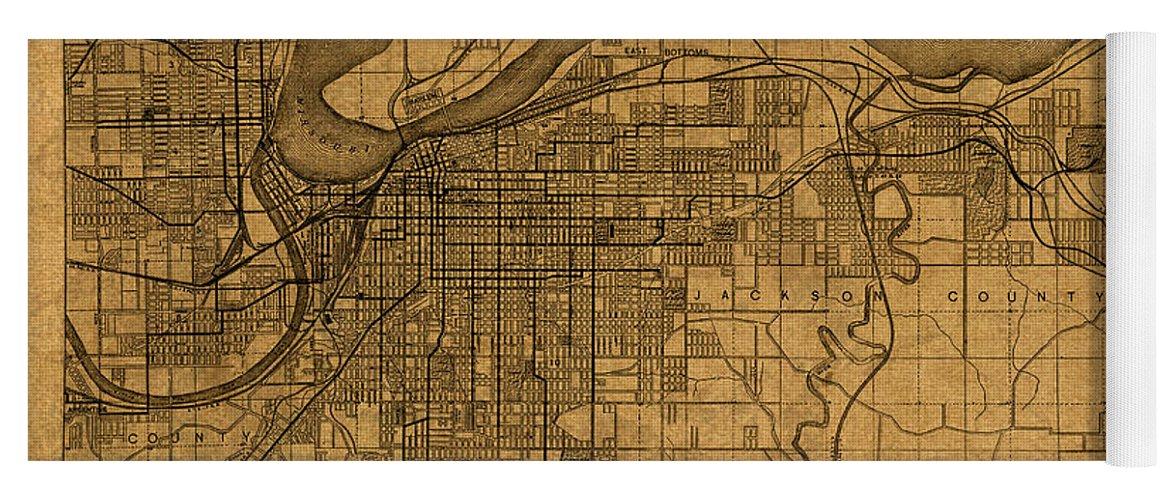 Old Kansas Map.Map Of Kansas City Missouri Vintage Old Street Cartography On Worn